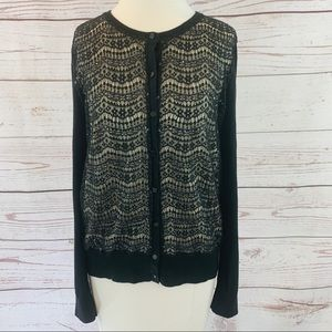 Ann Taylor black sweat with lace beaded sequin